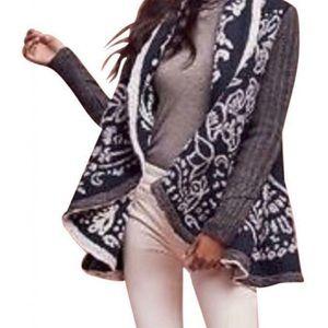 NWT Anthropologie Blue& White Sweater Coat XS